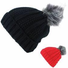 Chunky Knit Beanie Bobble Hat Warm Winter Men Ladies Unisex Ski Furry Pom