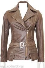 Boston Brown Vintage look Celebrity Designer Fashion Italian Real Leather Jacket