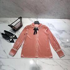 UK 2018 Womens Luxury Designer Inspired  Vintage Pearl Velvet Shirt Top  UK 4-10