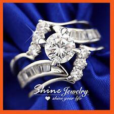 9K WHITE GOLD GF R234 INFINITY WAVE DIAMONDS WOMEN WEDDING BRIDAL SOLID RING SET