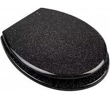 BLACK GLITTER TOILET BATHROOM SEAT RESIN W/CHROME HINGES SOFT CLOSE SLOW CLOSE