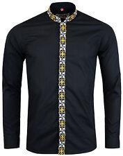 Nuevo Madcap Retro Mod 60s Avory Mandarín Camisa de cuello: Negro MC299