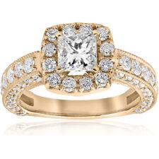 2 1/2ct Princess Cut Diamond Engagement Ring Cushion Halo Yellow Gold Enhanced
