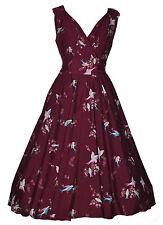 Ladies 1940's 1950's Vintage Style Plum Bird Print Full Circle Swing Tea Dress