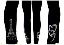 REGULAR SIZE LEGGINGS CLEAR CRYSTAL RHINESTONE LOVE PARIS EIFFEL TOWER