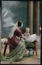 MADONNA & CHILD Vtg Christmas Postcard Halo Mary Christ