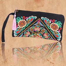 Ethnic Clutch Bag Flower Embroidered Women Handbag Purses Hippie Purse Tote S25
