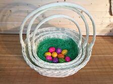 Osterkorb Weiß mit Ostergras Präsentkorb Leer   4 Größen Präsentkörbe Weide