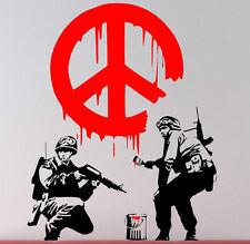 """Banksy Graffiti """"Cnd Pace Firmare soldati"""" ARTE stupefacente Vinile Adesivi Da Parete Nuovo"""