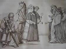 Gravure Costumes Mauresques Maures Sarrasins Arabes