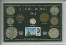 Il BLITZ bombardamento di Londra seconda guerra mondiale spirito COMMEMORATIVA MEDAGLIA & STAMP SET REGALO 1941