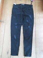 Hudson Washed Schwarz Distressed Skinny Zip Bein Stretch Jeans 27 Waist w484dob Sal
