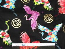 Oriental Crane Dragon cotton quilting fabric *Choose design & size