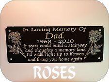 Personalizzata Memorial Bench targa segno Design con Rose qualsiasi formulazione U Wish 160 x 55