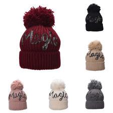 Frauen Winter Hut Acryl Buchstaben Pompom Beanie Schädel Hip Hop Knit Kabel A461
