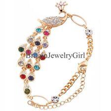 Charming Silver Gold Tone Peacock W/Colorful Rhinestone Chain Womens Bracelet