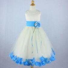 IVORY TURQUOISE Flower Girl Dress Petals Formal Recital Prom Birthday Wedding