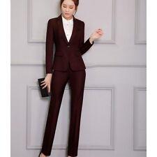 760f9bdec709 Tailleur completo donna viola scuro slim giacca manica lunga pantalone S9007