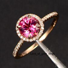 Pink Tourmaline Diamond Engagement Wedding Ring,14K Rose Gold Band,7mm Round Cut