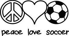 "Peace Love Soccer Vinyl Wall Decal   Girl's Sports Sticker Decor [CK53] 22x6"""