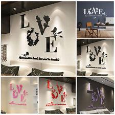 3D Specchio Love Arte Acrilico Murale Decalcomania Rimovibile Adesivo da Parete