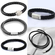 Handmade Leather Wristband Cuff Punk Magnetic Buckle Bracelet Bangle Jewelry