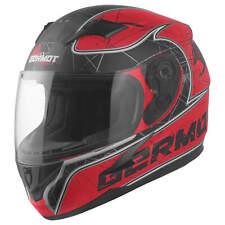 Germot GM 420 Décor Enfants Casque de Moto Intégral Fibre Verre - Mat Rouge Noir