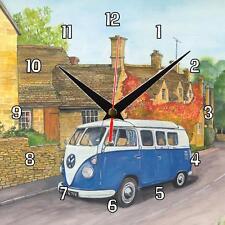 No.49 Blue VW Camper Van Sue Podbery Wall clock handmade gift present