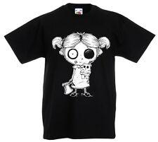 Zombie Niña Camiseta 3-13yr AÑOS Rock Gótico Burton Escalofriante Halloween