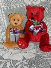 "Lot of 2 TY ""HAPPY BIRTHDAY"" Teddy BEARS Brown & Red Bears"