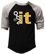 Men's Stick Figure Fcuk It Black Baseball Raglan T-Shirt College Humor Funny Tee