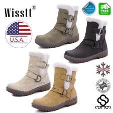 Winter Boots Women's Faux Fur Leather Mid Calf Warm Snow Fashion Plush 4 Colors