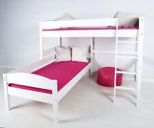 L-Etagenbett auf Eck Hochbett Eckbett weiß - umbaubar zu 2 Einzelbetten