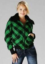 Fleecejacke - Gr. 36 38 40 42 - grün oder rot oder lila - Blouson - Jeans Jacke