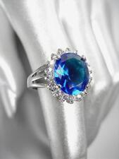 IMPRESIONANTE 18 quilates bañado en oro blanco 5ct Azul Cristal Zafiro RELIQUIA