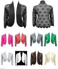 Ladies plus size 12 - 26  bolero cardi top 3/4 sleeves many colours Black *LICK*