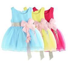 Newborn Baby Girls Summer Sleeveless Dress Flower Princess Party Wedding Dress