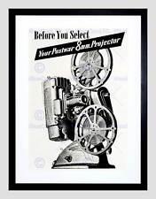 ADVERT 8MM PROJECTOR WAR REEL FILMS BLACK FRAMED ART PRINT PICTURE B12X6245