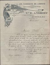 """AURILLAC (15) CHAUSSURES """"AUX FABRIQUES DE LIMOGES / Vve E. ANDRIEU"""" 1921"""