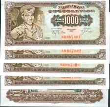 YUGOSLAVIA LOT 5x 1000 DINARA 1963. P 75 . UNCIRCULATED.