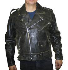 MEN'S Brown Distress Cow hide Leather Half Belt Motorcycle Jacket GREAT PRICE ~