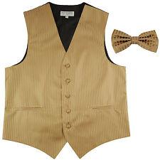 New Men's Vertical stripes tuxedo Vest Waistcoat _bowtie mocca brown formal