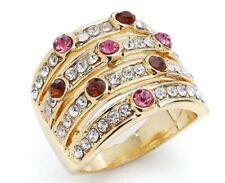 Damen Ring Gold mit Swarovski Kristall Mehrfarbig Solitär Siegel Cocktail Ketten