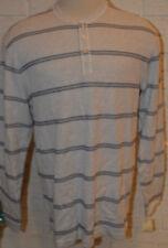 Men's Haggar Lt. Gray & Blue Stripe Long Sleeve Henley Shirt Top Size Large