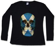 Scotland Skull Flag Da Donna Manica lunga T-shirt Bandiera Bandiera Scozia Banner