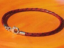 Ladies / mens 3mm Red-Brown leather & sterling silver bracelet by Lyme Bay Art.