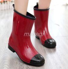 New Womens Summer Match Color Mid Calf Rain Boots Shoes Casual Pumps Shoes Hot D