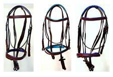 Horse Full Accents Purple Teal Royal Browband Noseband Ok Bark Br English Bridle