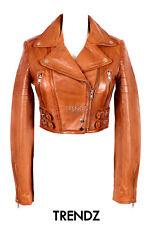 Ladies MISSY TAN (S5625) Cropped Biker Style Lambskin Designer Leather Jacket