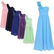 New One Shoulder Princess Flower Girl Junior Wedding Bridesmaid dress 4-14years